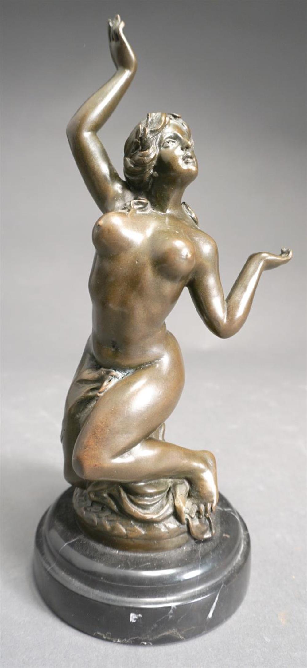 Miguel Fernando (Milo) Lopez (Portuguese, b 1955), Nude Woman, Bronze Sculpture on Black Marble Plinth, Height: 10-1/2 in