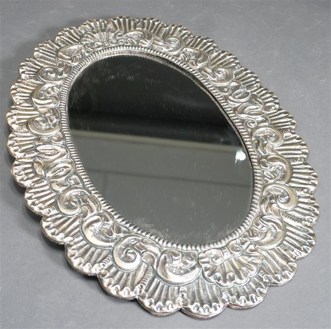 Mexican Sterling Silver Frame Mirror, L: 16 in