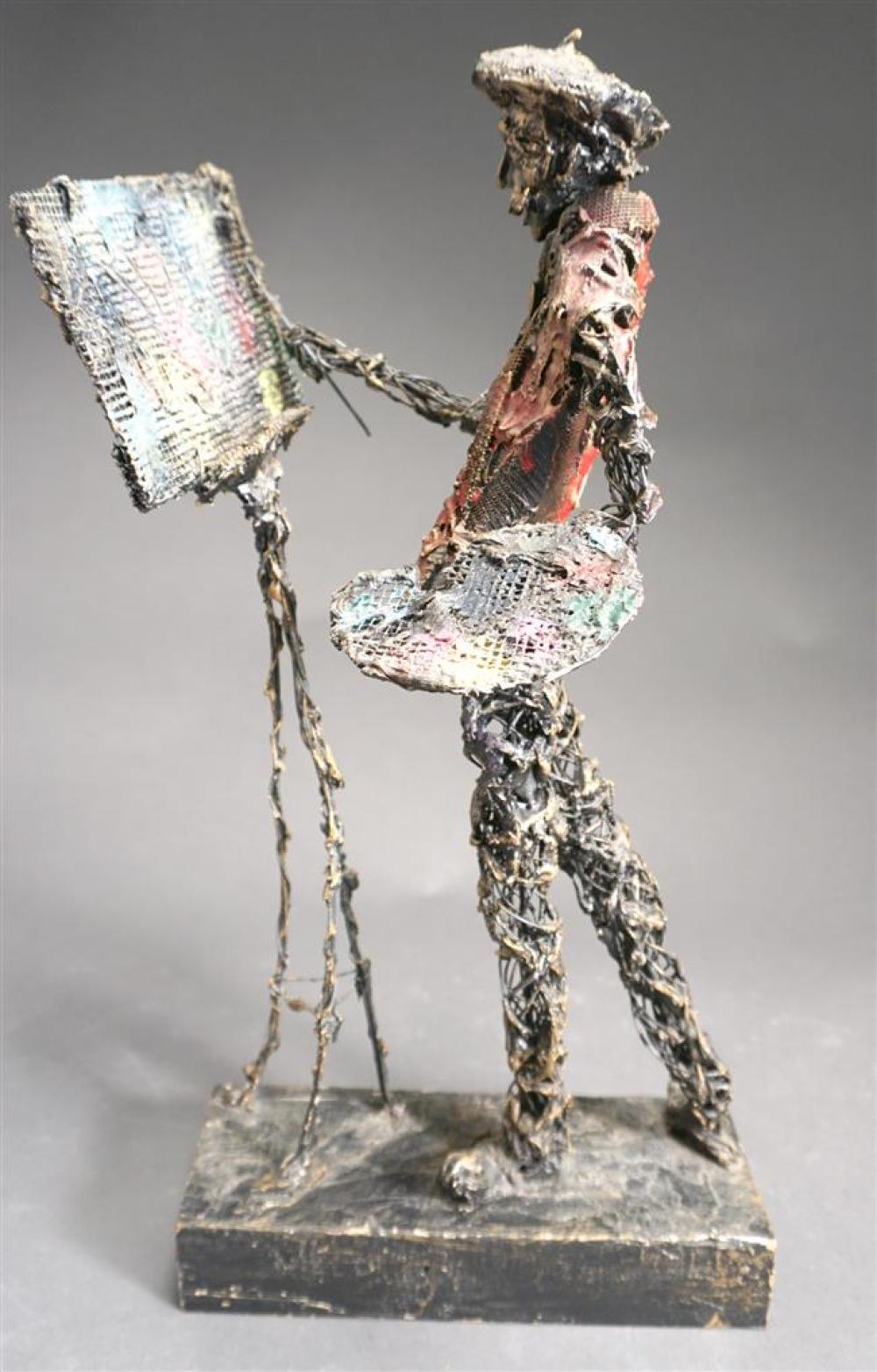 J Pena, Decorated Resin and Wired Metal Sculpture of a Painter; Overall Height 18-1/2 in