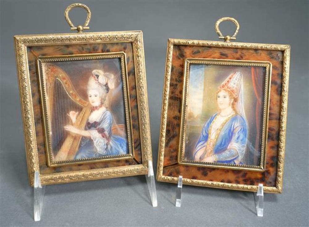Two Miniature Portraits of a Seated Lady and a Lady Playing a Harp, Each Signed, Height of each: 5-7/8 in