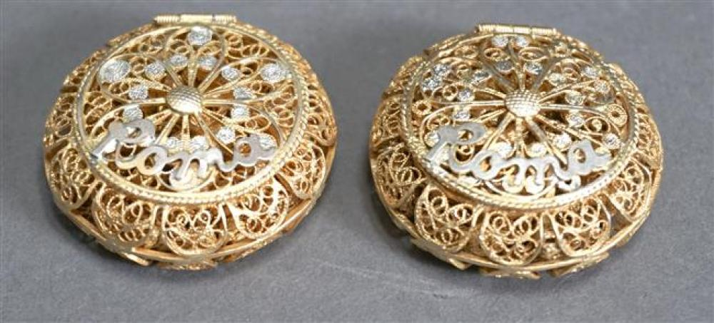 Two Continental 800-Gilt Silver 'Roma' Rosary Boxes with Rosaries