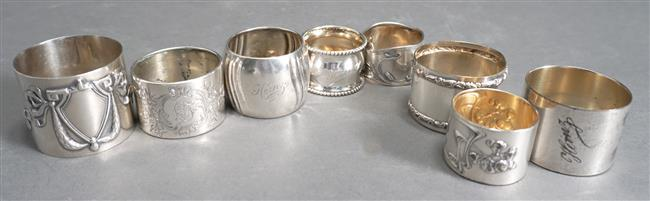 Five 800 Silver Napkin Rings (3 oz) and Three Silver Plate Napkin Rings