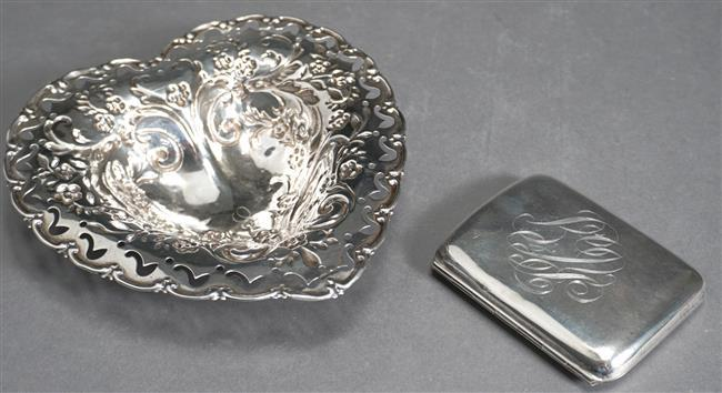 American Pierced Sterling Silver Heart Shape Dish and a Sterling Silver Cigarette Case, 4.2 oz