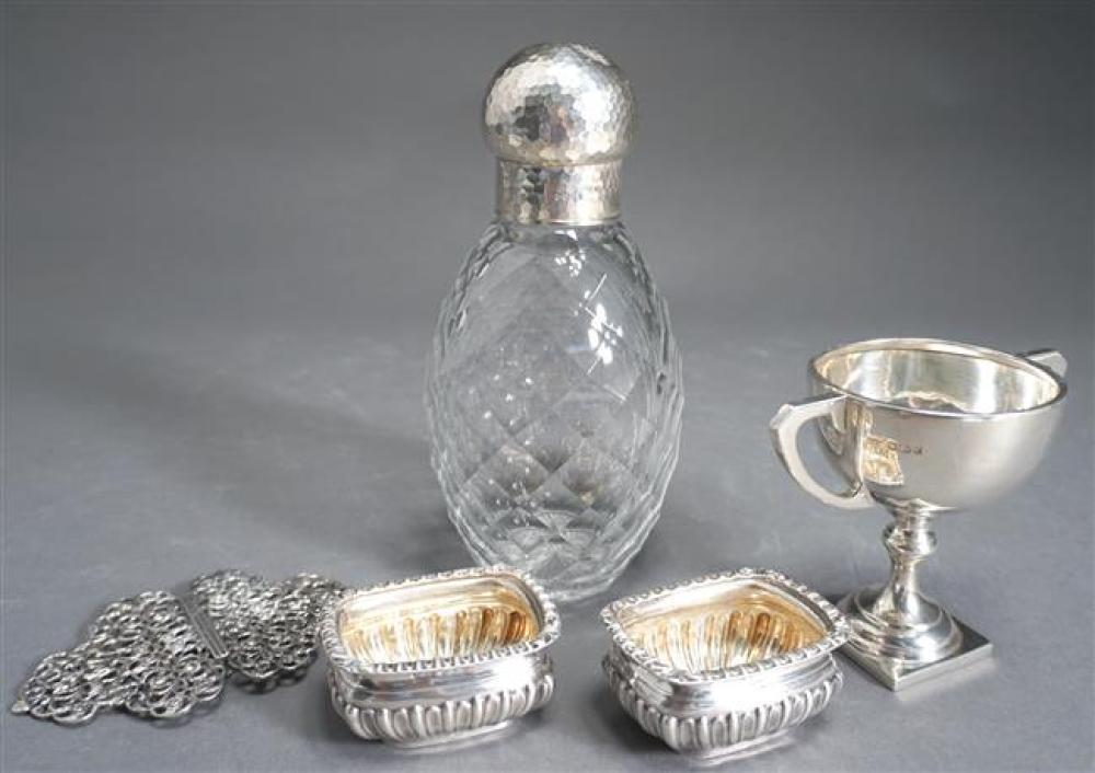 English Hammered Sterling Silver Mounted Molded Crystal Decanter, a Trophy Cup, Pair of Buckles and a Pair of Salts, 9 oz