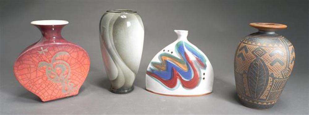 Collection of Four Contemporary Glazed Ceramic Vases (One Chipped)