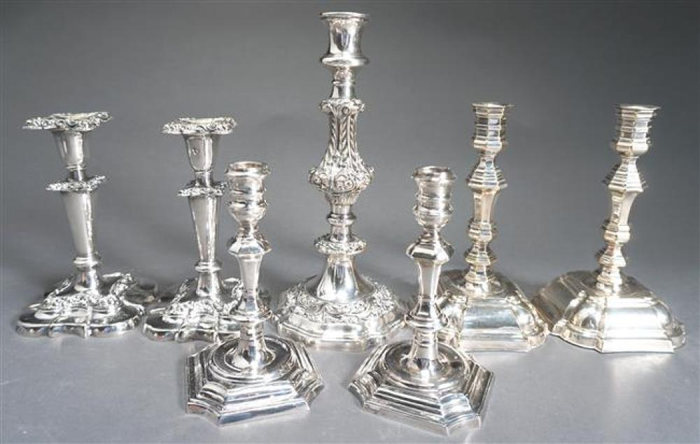 Three Pairs of Silver Plate Candlesticks and a Gorham Repousse Silver Plate Candlestick