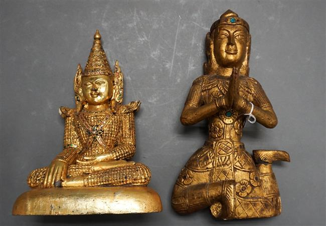Two Southeast Asian Giltwood and Sequined Seated Figures, Height of taller: 13-1/2 in