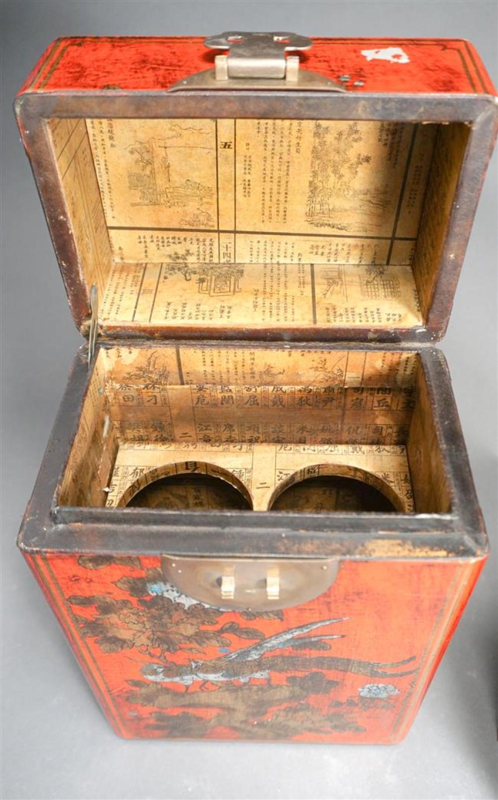 Chinese Red Lacquered Two Bottle Storage Box and a Wicker Storage Box, Height of taller: 13-3/4 in