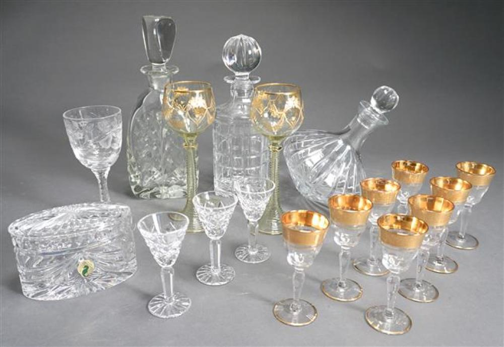 Collection of Four Crystal Decanters, a Waterford Covered Box and Three Cordials and Ten Assorted Glass Stemware