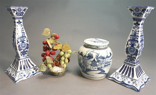 Chinese Blue and White Covered Ginger Jar, a Pair of Blue and White Candlesticks and a Hardstone Flowering Tree