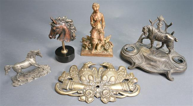 Collection of Five Brass and Patinated Metal Decorative Articles