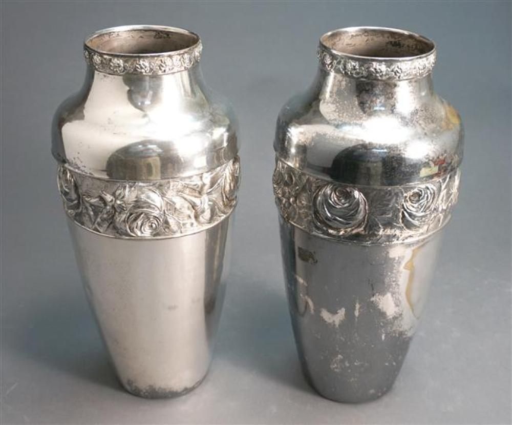 Pair of Silver Plated Vases, Height: 15 in