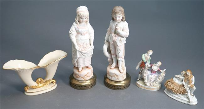 Collection of Four Porcelain Figurines and a Vase