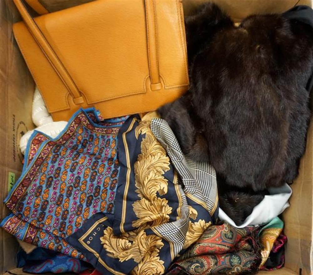 Box with Mink Liner, Leather Purses, Silk Scarves and Belts