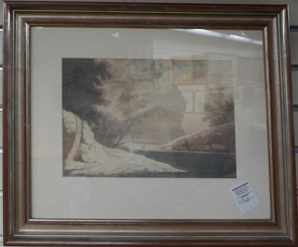 19th-20th Century, River and Mountains, Watercolor Frame: 16-1/4 x 19-1/2 in