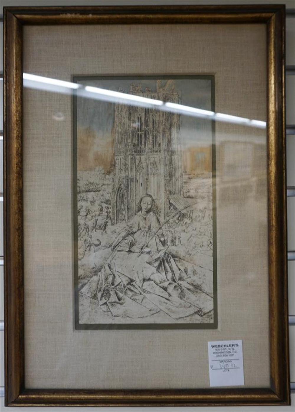 After Jan van Eyck, St. Barbara, Print Frame: 18-1/4 x 12-3/4 in