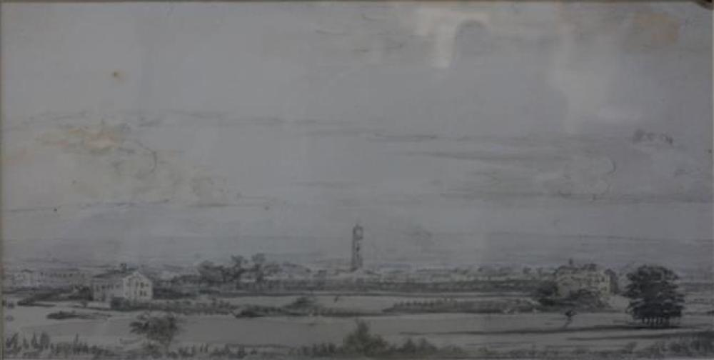 Thomas Clark (British 1777-1857), View from Primrose Hill, London, Watercolor, Frame: 12-1/2 x 15-3/4 in