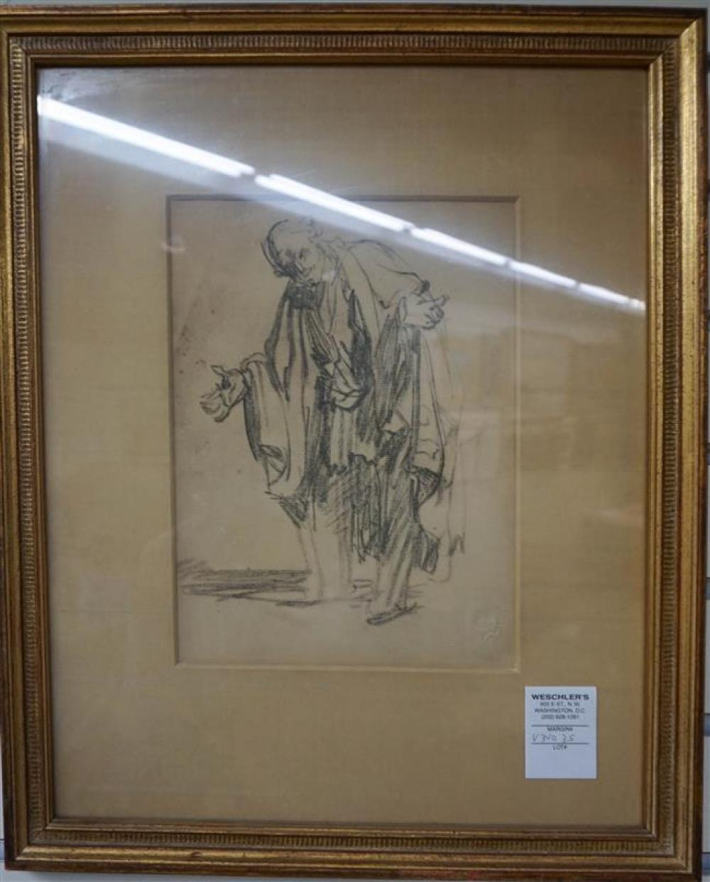 After Rembrandt, Old Man, Print with Blind Seal, Frame: 18 x 14-3/4 in