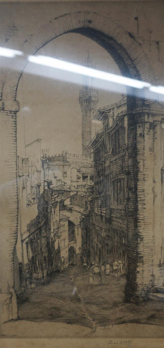 Ernest David Roth (American 1879-1964), A Street in Sienna, Etching, Frame: 18-1/2 x 12-1/2 in