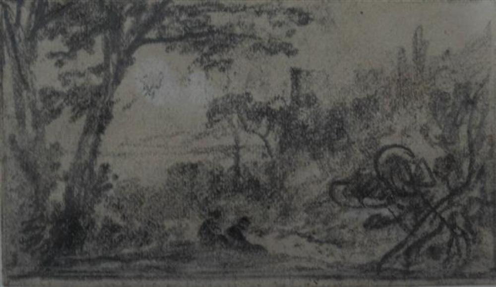 Albert F. Varley (British 1804-1876), Figures in Landscape, Graphite on Paper, Frame: 11-1/2 x 12-1/4 in