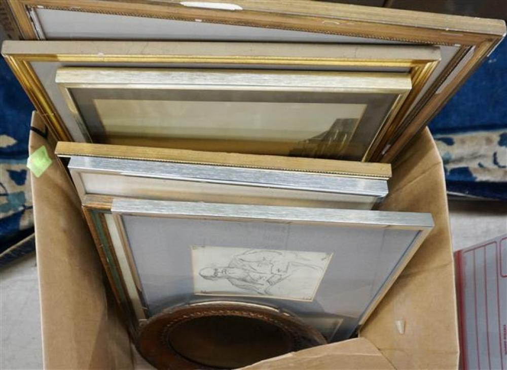 Box with Assorted Works of Art and Copper Frame Mirror