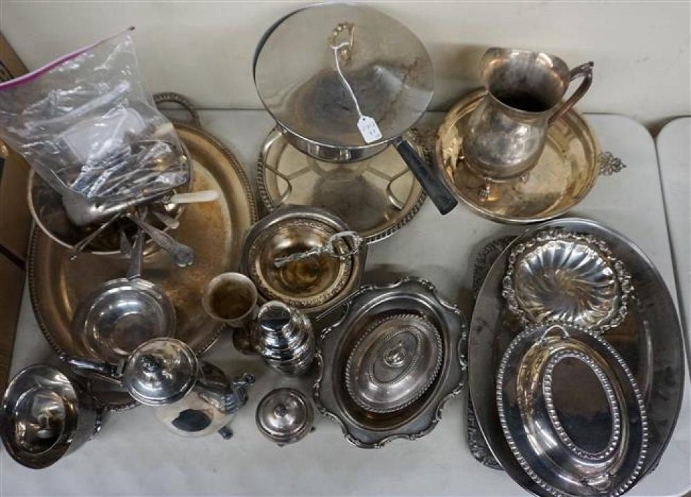 Group with American and other Silver Plate Serving Articles and Flatware
