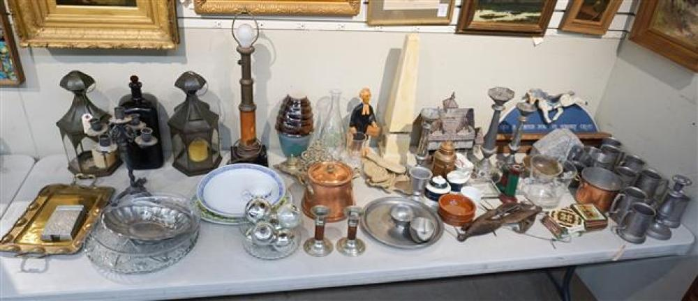 Group with Tin and Pewter Lanterns, Candlesticks, Mugs, Copperware, Glassware and Other Articles