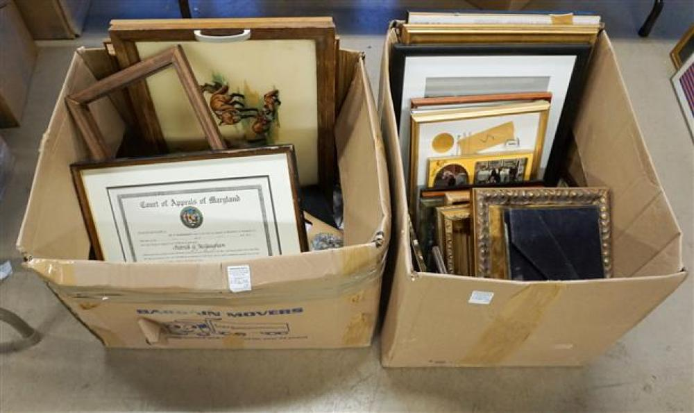 Two Boxes with Pictures and Photograph Frames