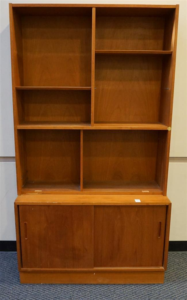 Hundevad Mid Century Modern Teak Two Part China Cabinet (some losses); Height: 77 in; 42-1/2 in x 17 in