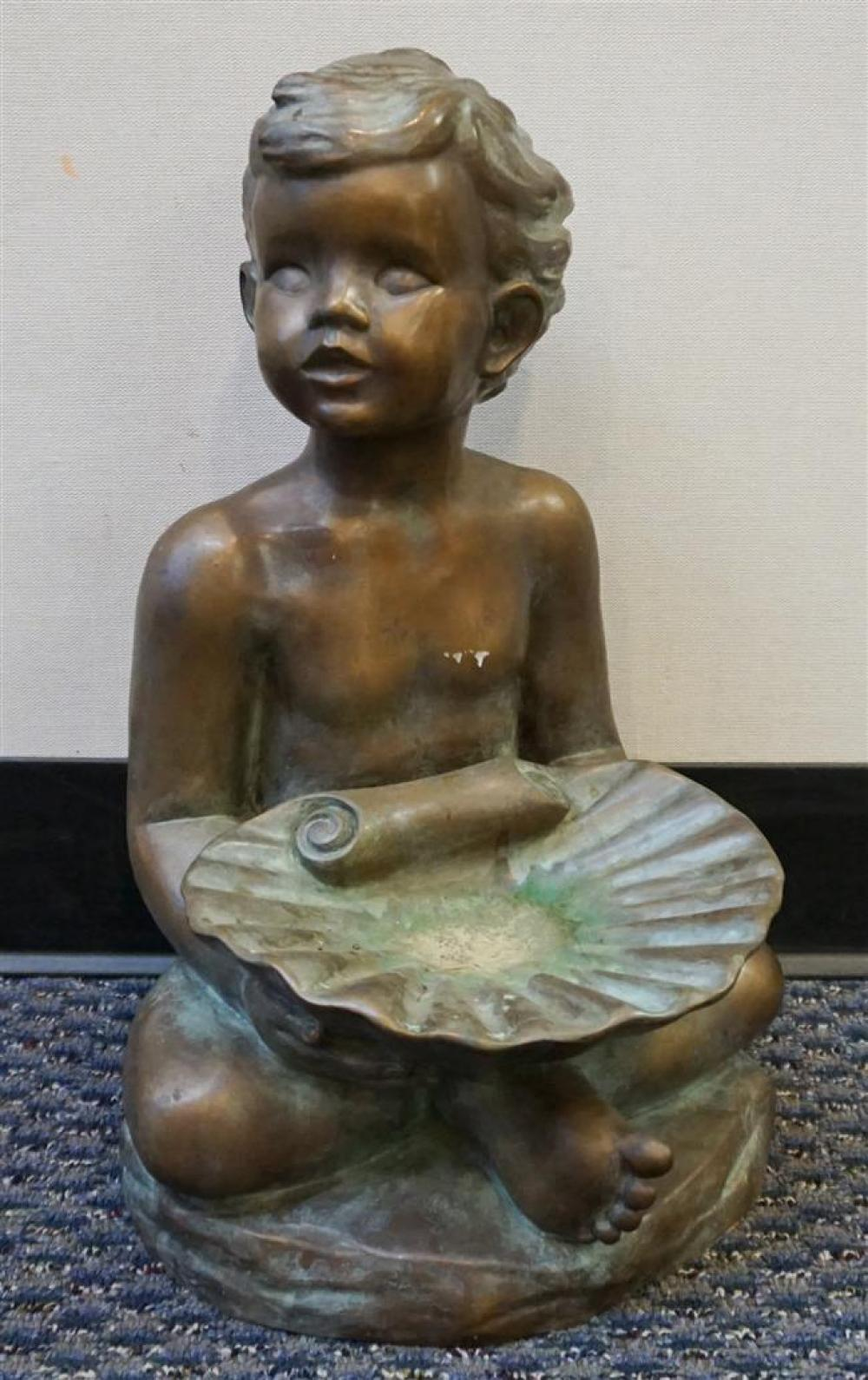 Patinated Metal Figure of a Boy with Shell, Height: 18 in