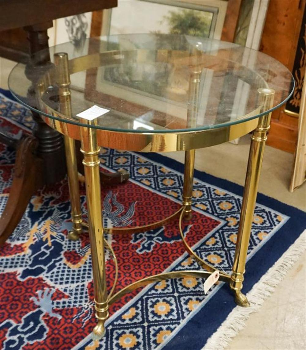 Brass Tone and Glass Top Round Side Table; 22.5 Overall Height Inches