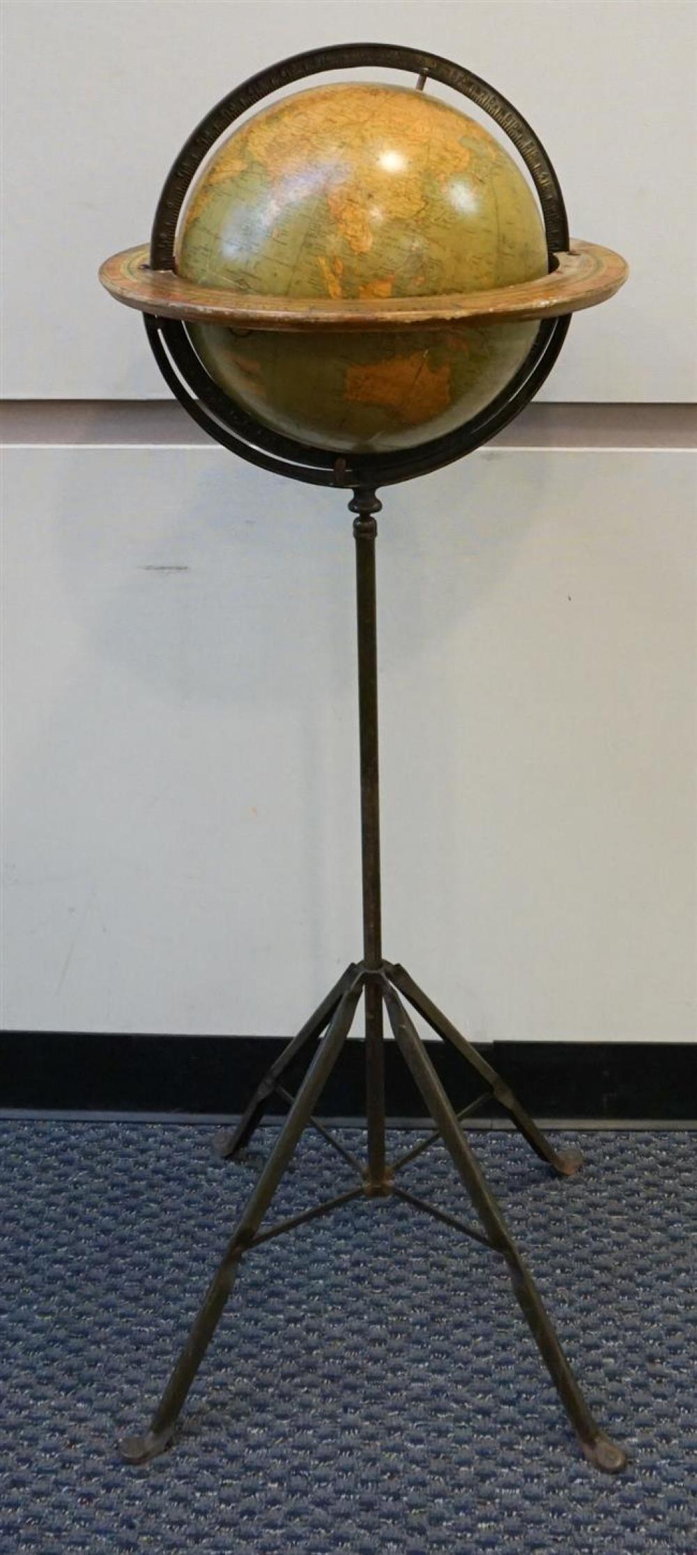 World Globe on Stand; Approximately 49 Inches High (repaired)