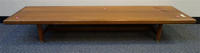 Mid Century Modern Brass Mounted Fruitwood Low Table, H: 10-3/4 in, W: 72 in, D: 20 in