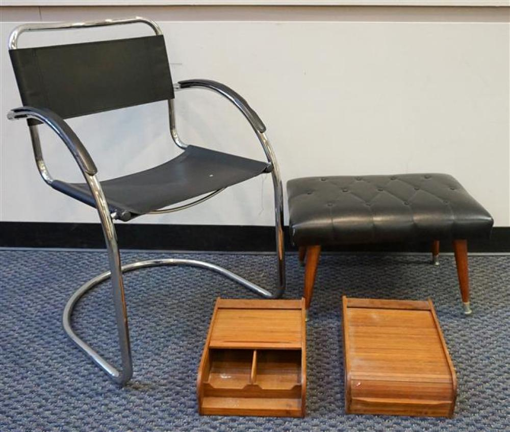 Group of Chrome Plated Side Chair, Vinyl Footstool, and Two Tambour Door Desk Organizers