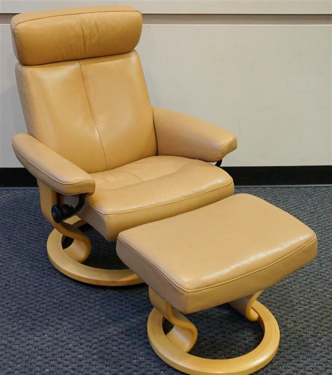 Ekornes Stressless Tan Leather Recliner and Ottoman