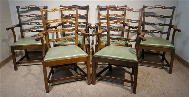 Set with Six George III Style Mahogany Green Leather Seat Dining Chairs