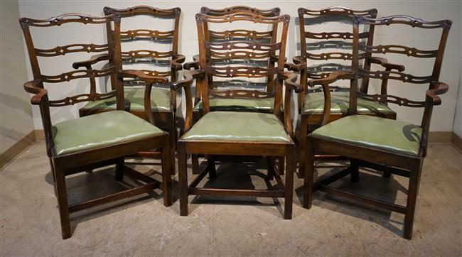 Set with Six George III Style Mahogany Green Leather Upholstered Seat Dining chairs (one chair with broken splat)