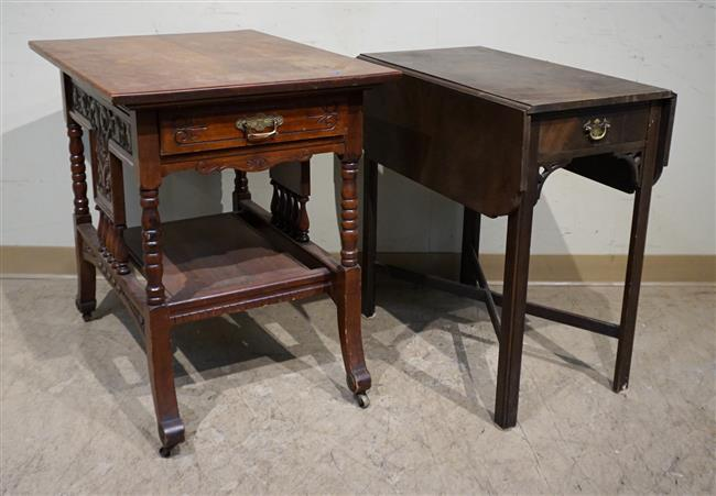 Victorian Eastlake Walnut Side Table and George III Style Mahogany Pembroke Table