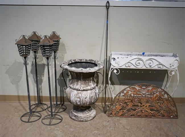 Collection with Eight Painted Metal Objects: Height of tallest: 39 in