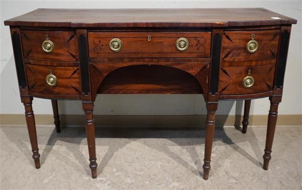 Regency Ebony Inlaid Mahogany Sideboard, H: 35 in, W: 56-1/2 in, D: 23 in