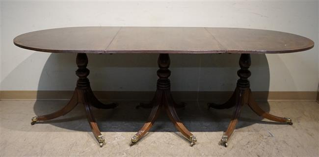 George III Style Mahogany Three-Pedestal Dining Table with Two Leaves, H: 29 in, W: 88 in, D: 42 in