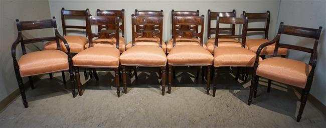 Set with Twelve Georgian Style Inlaid Mahogany Dining Chairs (2 arm 10 Side)