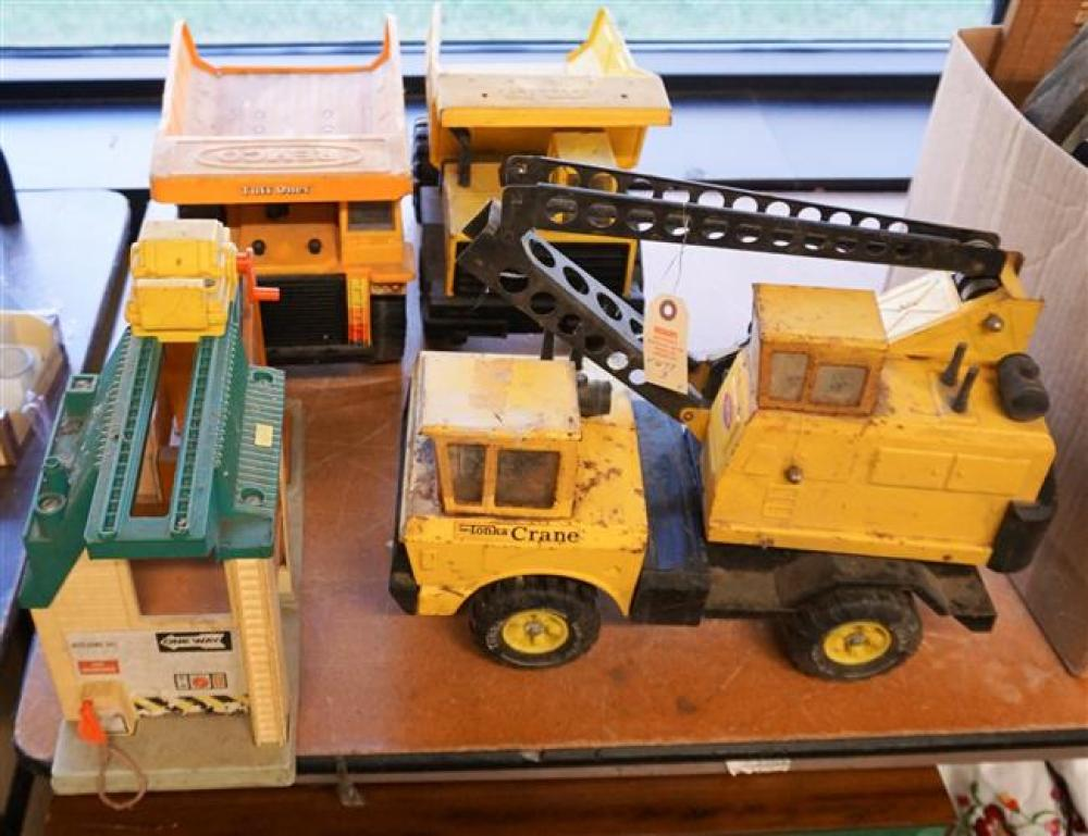 Tonka Crane, Dump Truck, Remco Dump Truck and Fisher Price Depot