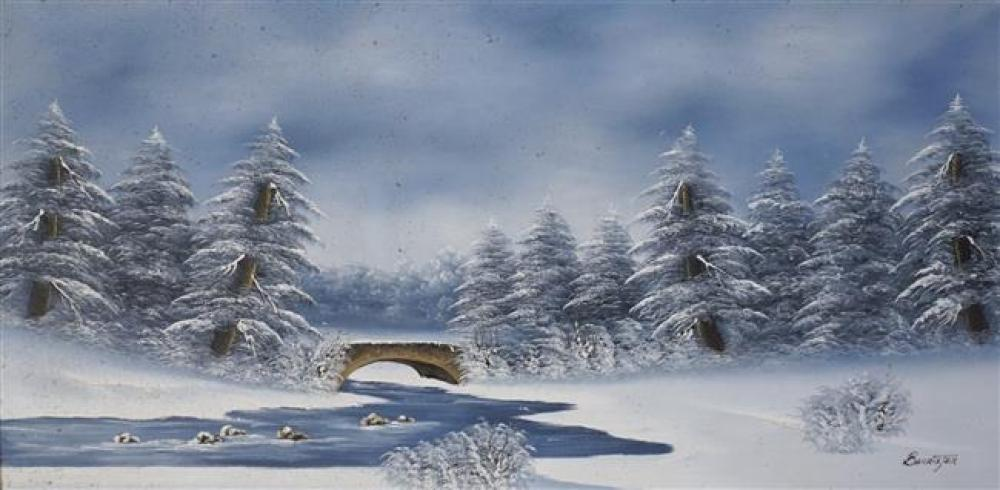 Barrister, Winter Scene, Oil on Canvas, 32 x 57 inches