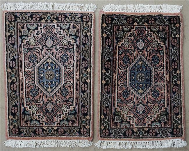 Pair of Bidjar mats, 1 ft 10 in x 1 ft 4 in