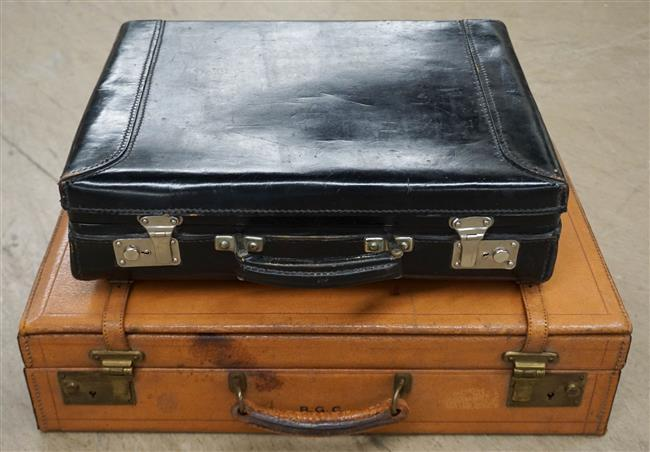 Two Vintage Leather Mounted Briefcases