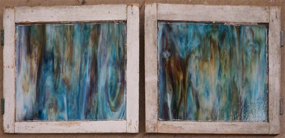 Two Slag Glass Windows, 20-3/4 x 22 in