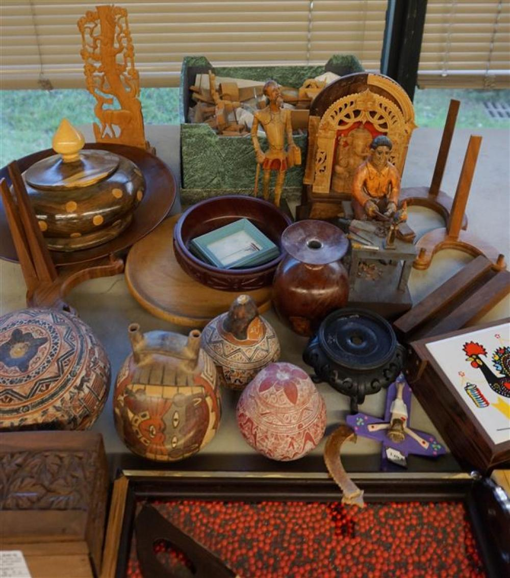Group with South American Carvings and other Table Articles