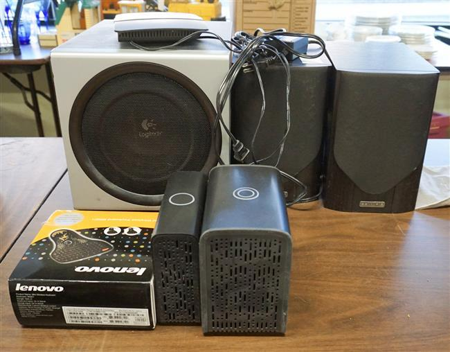 Pair of Mission Speakers, Logitech Subwoofer and other Electronics