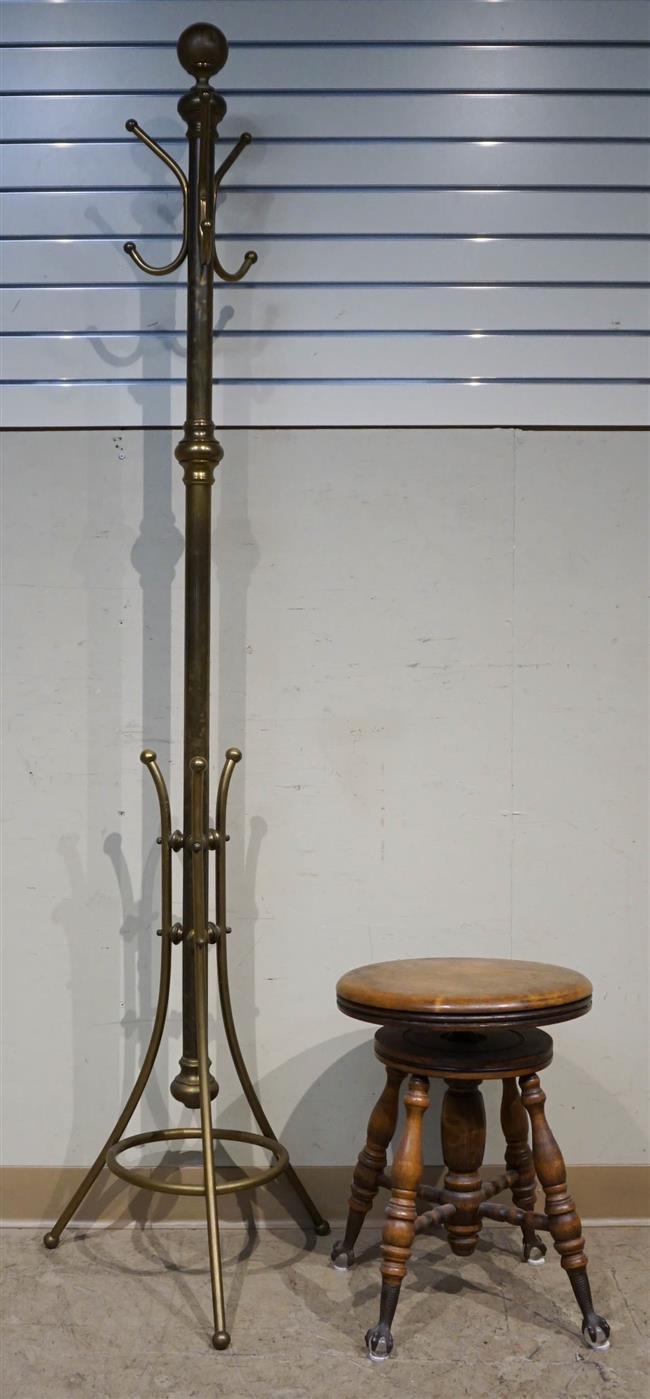 Brass Tone Costumer and Revolving Piano Stool